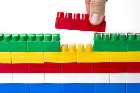 Lego wall. Creativity unity and fit or doesn't fit concept Standard-Bild