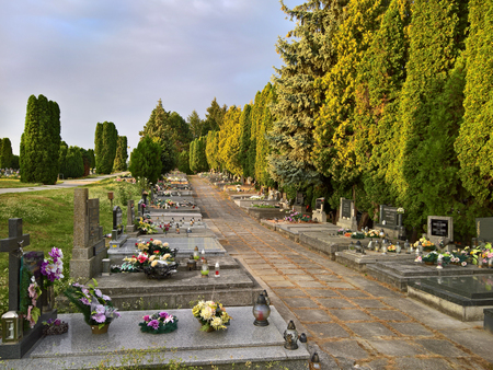 Christian cemetery with graves and spaces for cremation