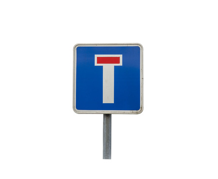 Dead end traffic sign on the white background Stock Photo