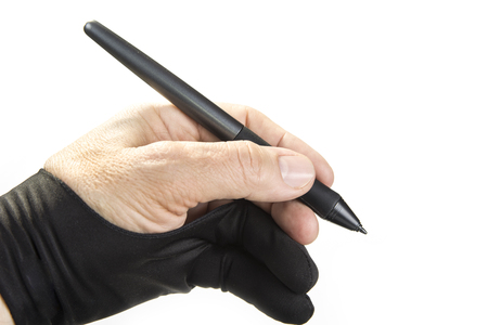 Painter glove on the hand with graphic tablet pen