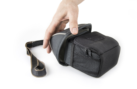 Camera case with a strap in a white
