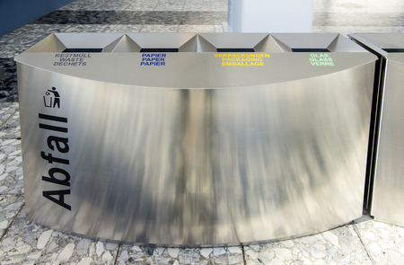 Recycling trash can in a pulbic building