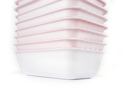 Disposable polystyrene bowl on a white background
