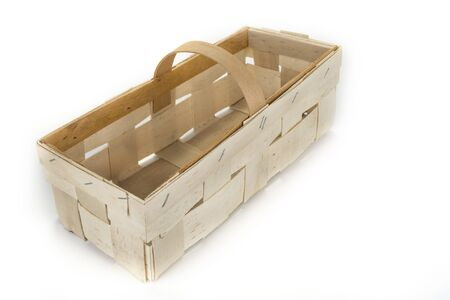 Empty wooden basket isolated on a white background Stock Photo