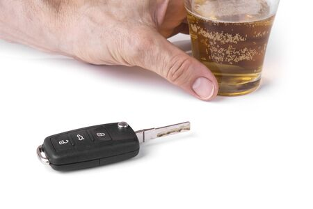Car key and beer. Dont drink and drive concept