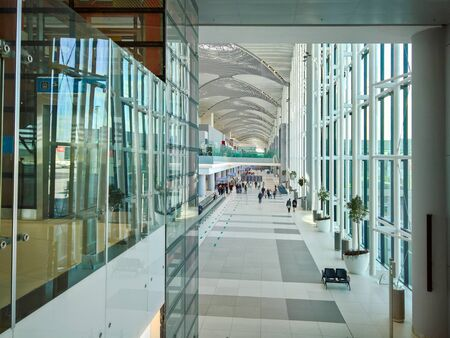ISTANBUL,TURKEY, October 13,2019 Modern architecture hallways at the new Istanbul airport