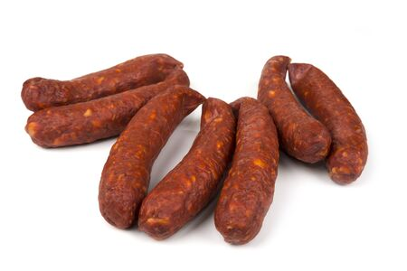 Home made smoked sausages on a white