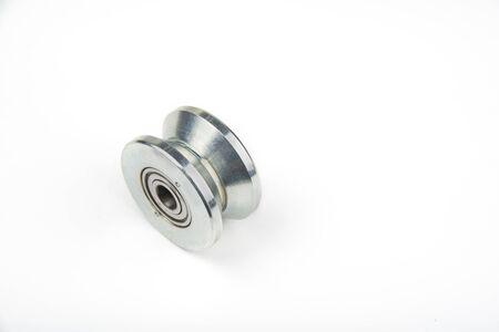 Heavy duty sliding wheel on bearings on a white