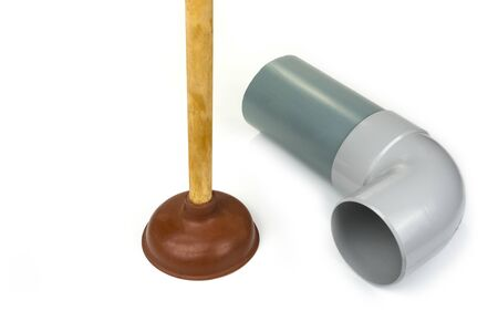 Rubber plunger with a long wooden handle