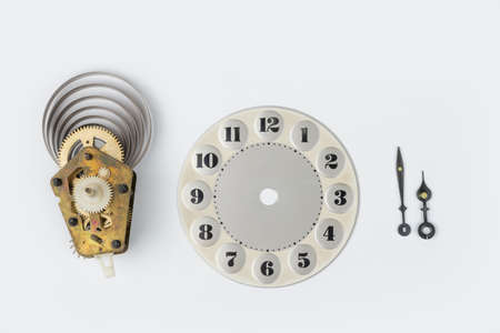 Retro clock face and hands on a white 写真素材