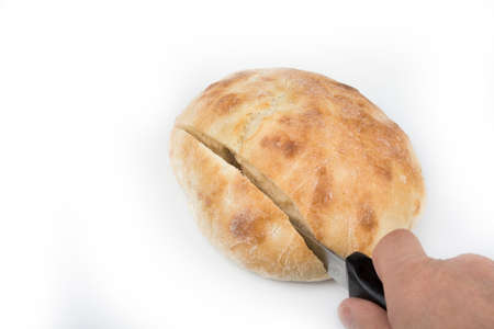 Traditional home bake bread lepinja on a white
