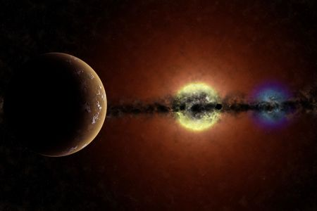 Imaginary planetary system with a red giant star and a white dwarf star. Visible a planet and a dense disk of dust in equatorial plane.