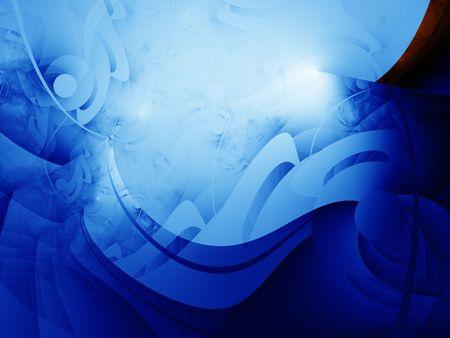 Delicate blue lines is a complex fractal image.