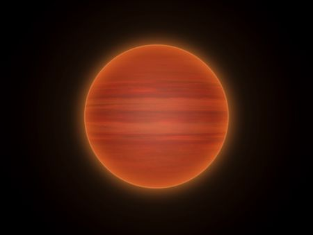 This hires illustration is a theoric reconstruction of a brown dwarf. Brown dwarfs are sub-stellar objects with a mass below that necessary to maintain hydrogen-burning nuclear fusion reactions in their cores.   They are transitory objects between stars Reklamní fotografie