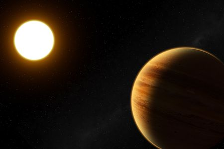 51 Peg b is a extrasolar planet, its mass is around halves Jupiter. It orbits around the star 51 that it has a mass similar to that of the Sun. Very high resolution.