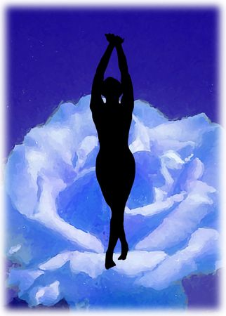 Dancing silhouette on the blue flower, spiritual emotion photo