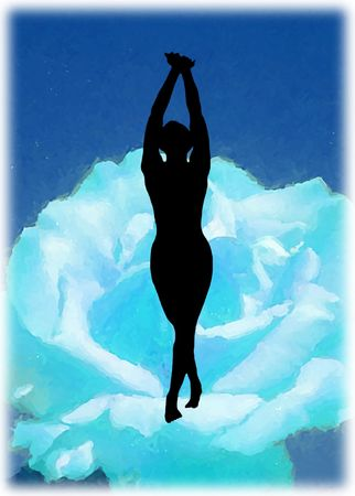 Dancing silhouette on water flower, spiritual emotion Stock Photo - 833794