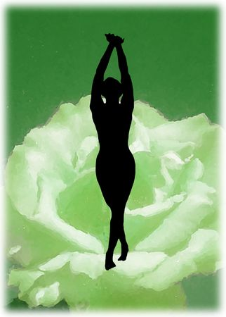 Dancing silhouette on green flower, spiritual emotion Stock Photo - 833795