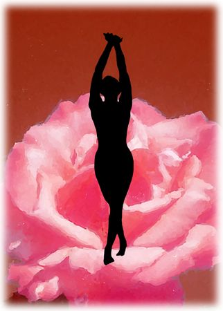 Dancing silhouette on the red flower, spiritual emotion