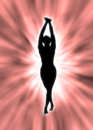Dancing silhouette in the strong light, spiritual emotion photo