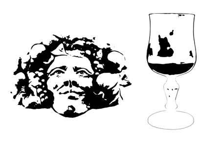 bacchus: Clipart e and artistic rappresentation of the Bacchus head, winw god, head and glass Stock Photo
