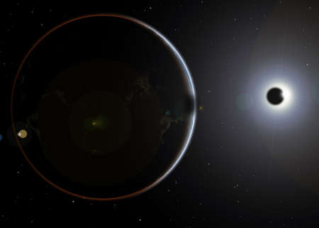 in conjunction: Solar Eclipse from the space and shadow of the moon.