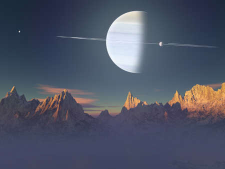 moons: Vision of an imaginary landscape of a planet with rings and moons Stock Photo