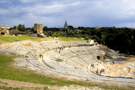 The ancient ruin of the Greek Theater to Syracuse Sicily. Standard-Bild
