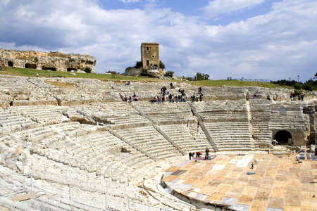 The ancient ruin of the Greek Theater to Syracuse Sicily. Reklamní fotografie