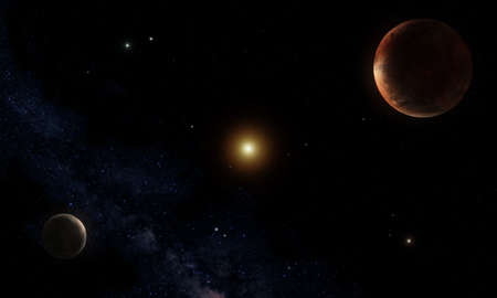 Imaginary reconstruction of a vision of the Pluto-Charon system.