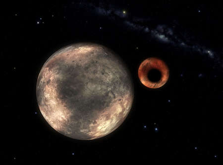 Imaginary reconstruction of a rare eclipse in the system Pluto-Charon. This event is a recontruction of a eclipse of the April 18 1988.