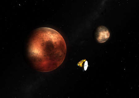 probe: Imaginary reconstruction of the New Horizon probe on Pluto-Charon System in the 2015 Stock Photo