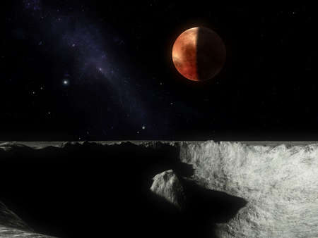 Imaginary reconstruction of a vision of Pluto from Charon
