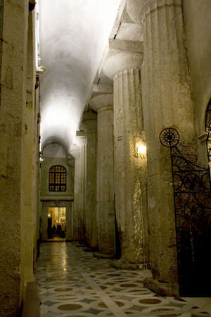 This is a interior of the Syracuse Cathedral, visible the ancient columns of the old Athena's Greek Temple