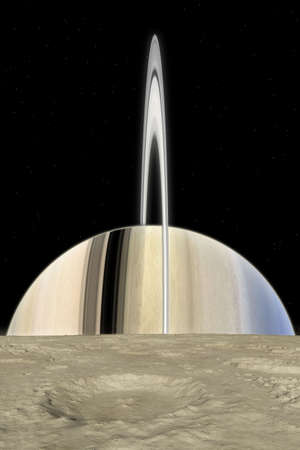 Mimas view, Mimas is one of the moons nearest moons of Saturn. This is theorical landscape reconstruction of the Saturn rise.