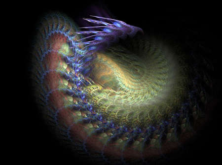 Fractal dragon is a complex fractal image photo