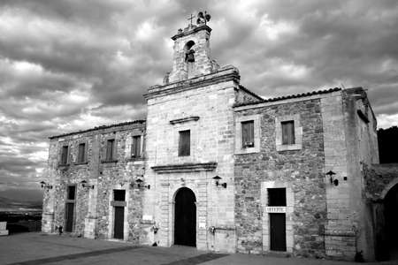 bewitched: Old sicilian church in the hinterland. Black-white image.  Stock Photo