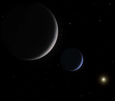 Triton and Neptune in an imaginary space vision Stock Photo - 883651