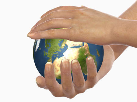 caress: Hands protect earth is a suggestive computer image. This is simbol of nature protect Stock Photo
