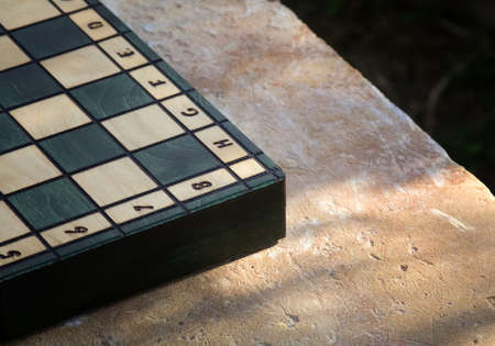 infantryman: A chessboard on the rock table to the sunset