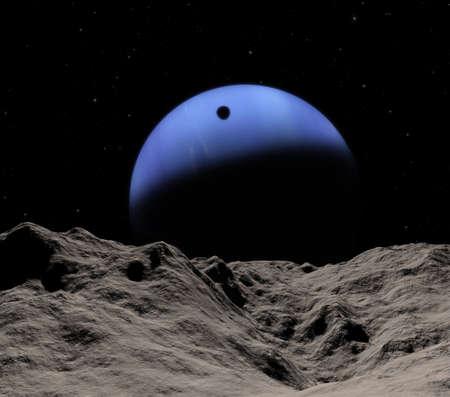 Triton's schaduw van Neptunus kleine Proteus. Zeldzame geval van de 24 apr 2036