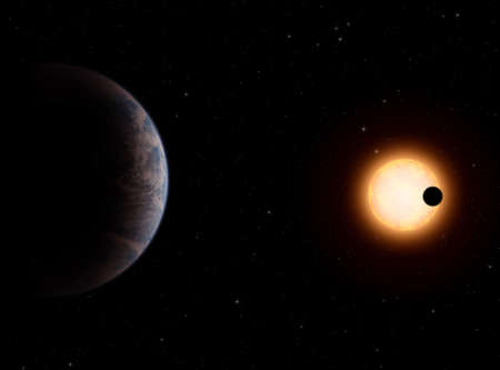 Gliese581-c is a planet like to earth. it orbit around the Gliese581 red dwarf star. The planet has a theorical temperature like to earth. Visible Gliese-b giant planet on stars.