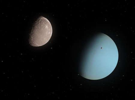 Ariel and Uranus.  Standard-Bild