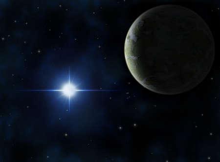 Alien planet around a bright blue star.