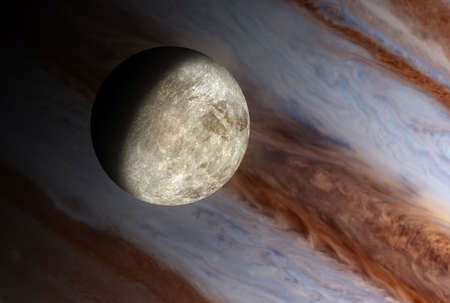 backgroud: Small moon is a thoretical reconstruction of the small moon around a giant planet gaseous. In Backgroud the clouds of the giant planet.