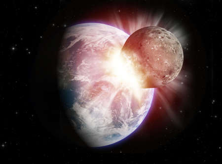 Theoretical reconstruction of a planetar collision. Stock Photo - 956569