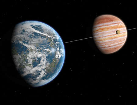 gaseous: Theoretical reconstruction of a Extrasolar system. Visible an earth like planet in orbit around a giant gaseous planet.
