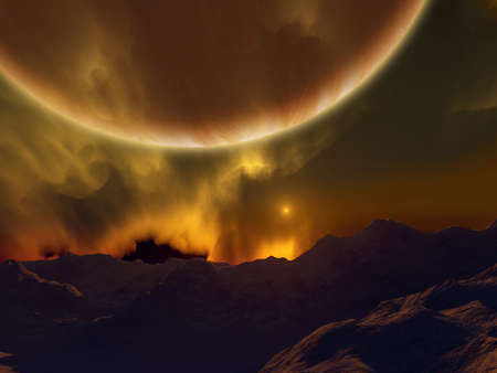 A science finction sunset. Visible a distant red star and a giant planet.