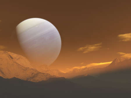 An imaginary space landscape. A giant gaseous planet rise from a desolate moon.
