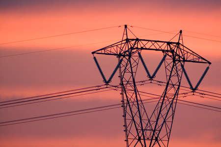 poweron: Power elettric in the sunset, sicilian landscape Stock Photo
